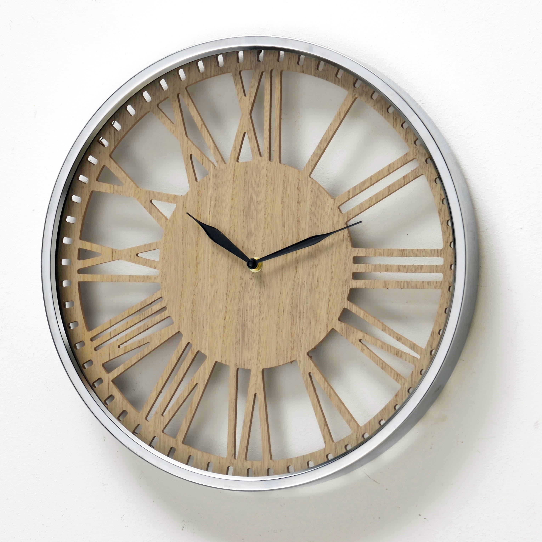 Ceas de perete Callisto Crom / Natural, Ø40 cm poza
