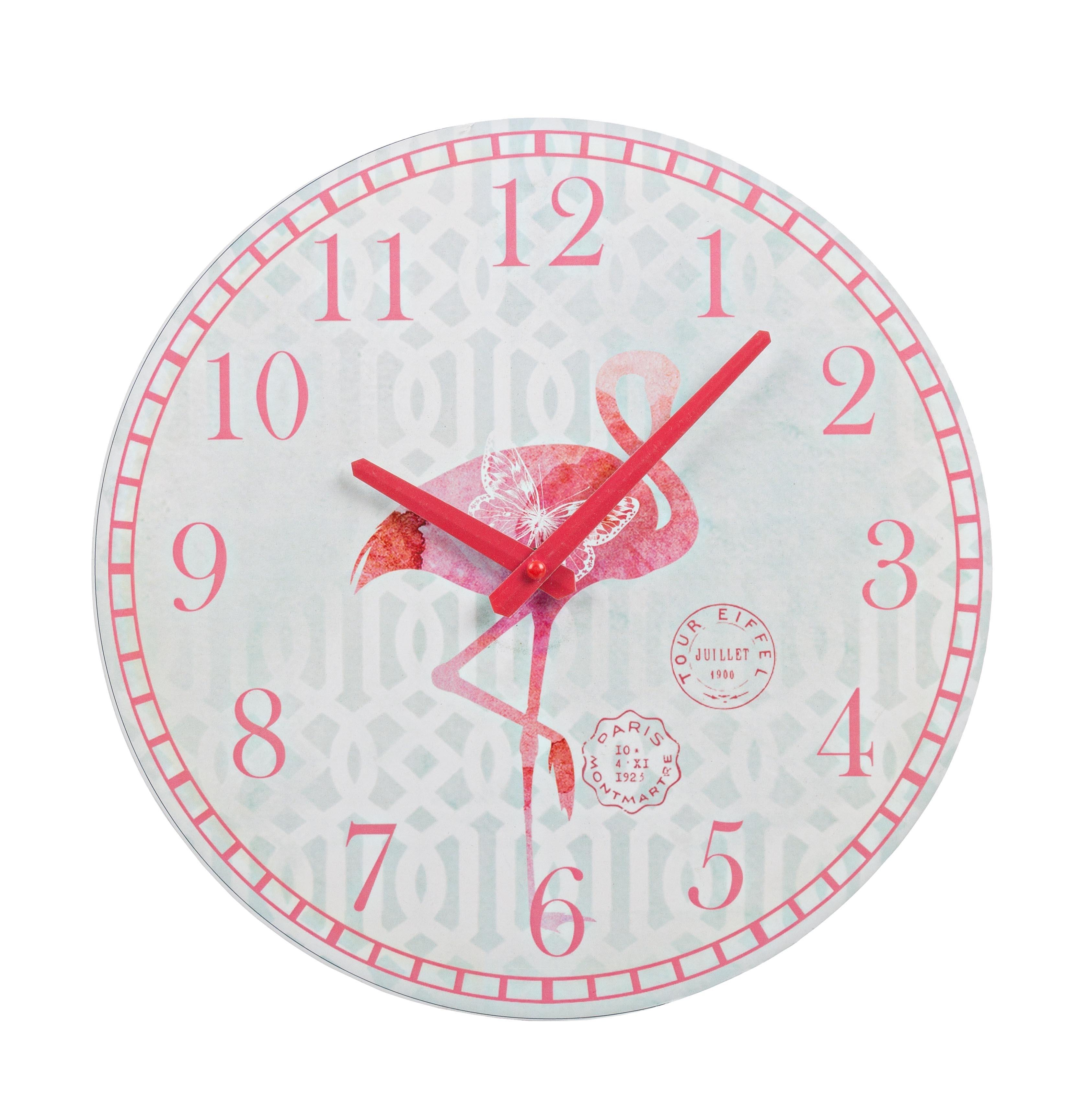 Ceas de perete Flamingo Alb / Rosu, Ø30 cm poza