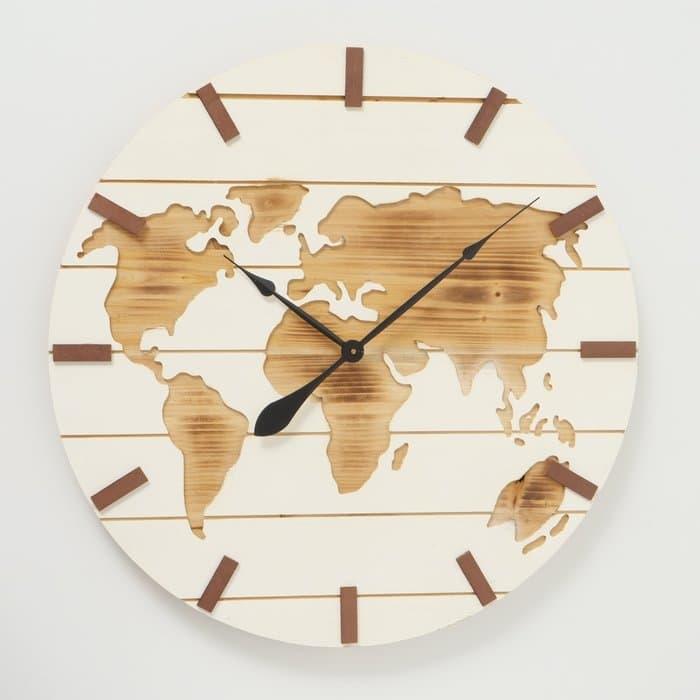 Ceas de perete Global Natural / Alb, Ø74 cm poza
