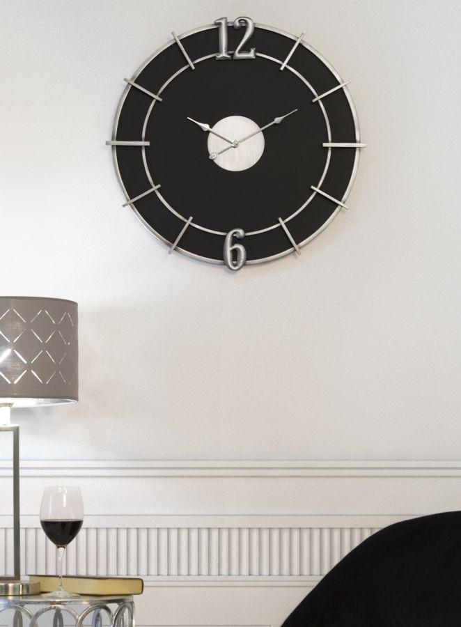 Ceas de perete Silver Glam Negru, Ø60 cm imagine