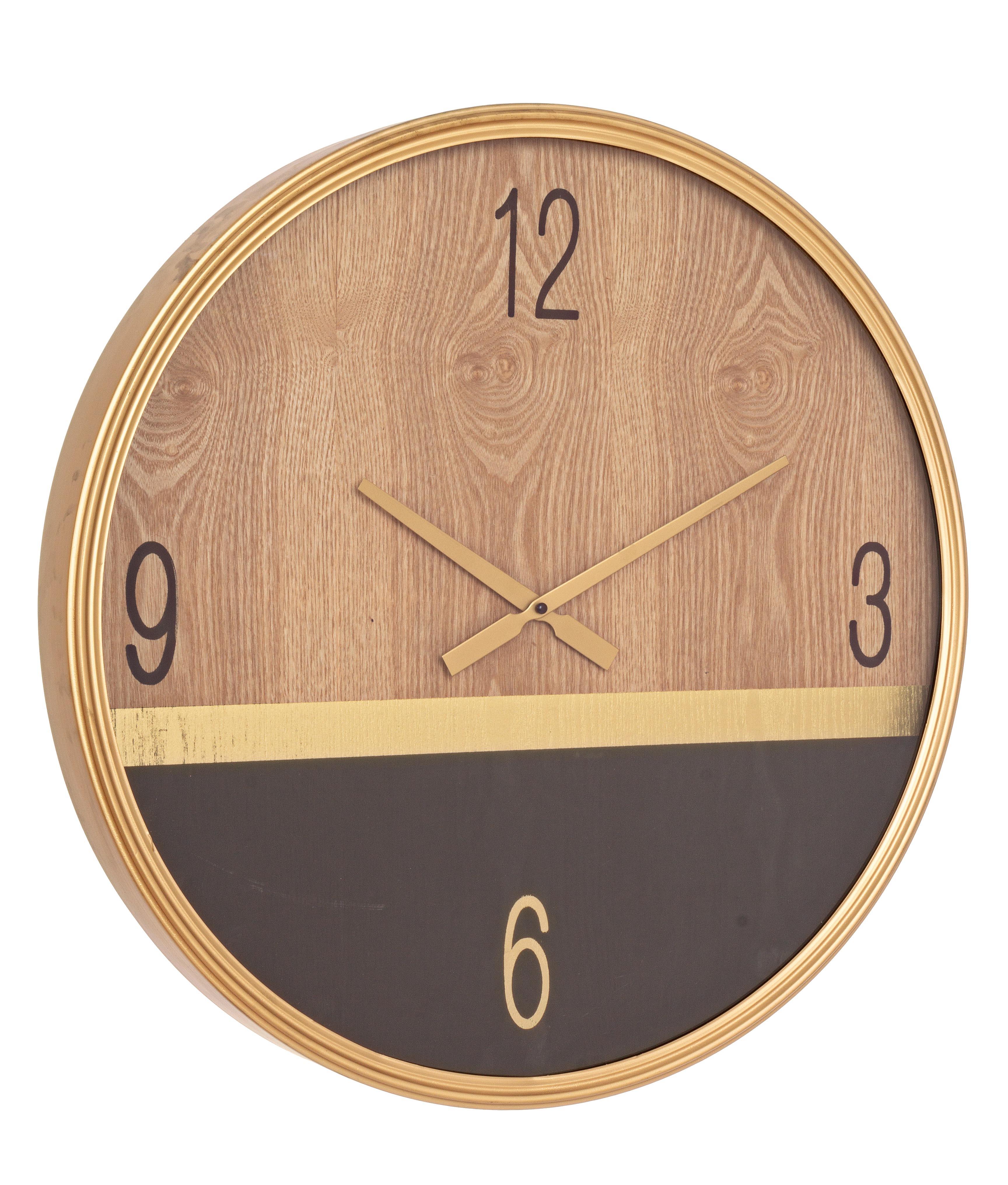 Ceas de perete Ticking Q46 Natural / Negru, Ø60 cm poza
