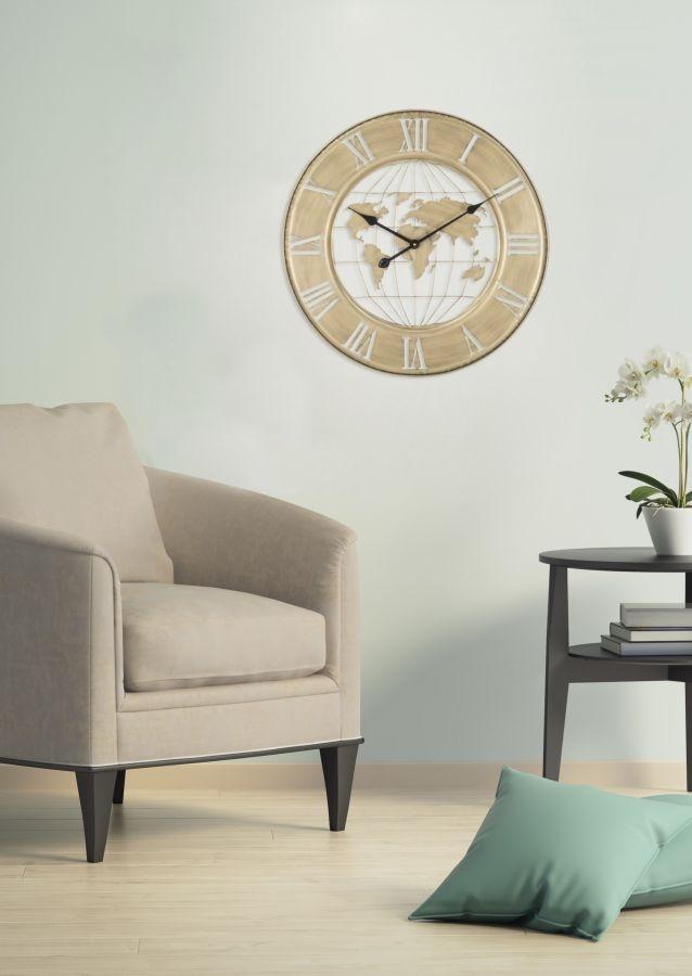 Ceas de perete World Natural / Auriu, Ø63 cm