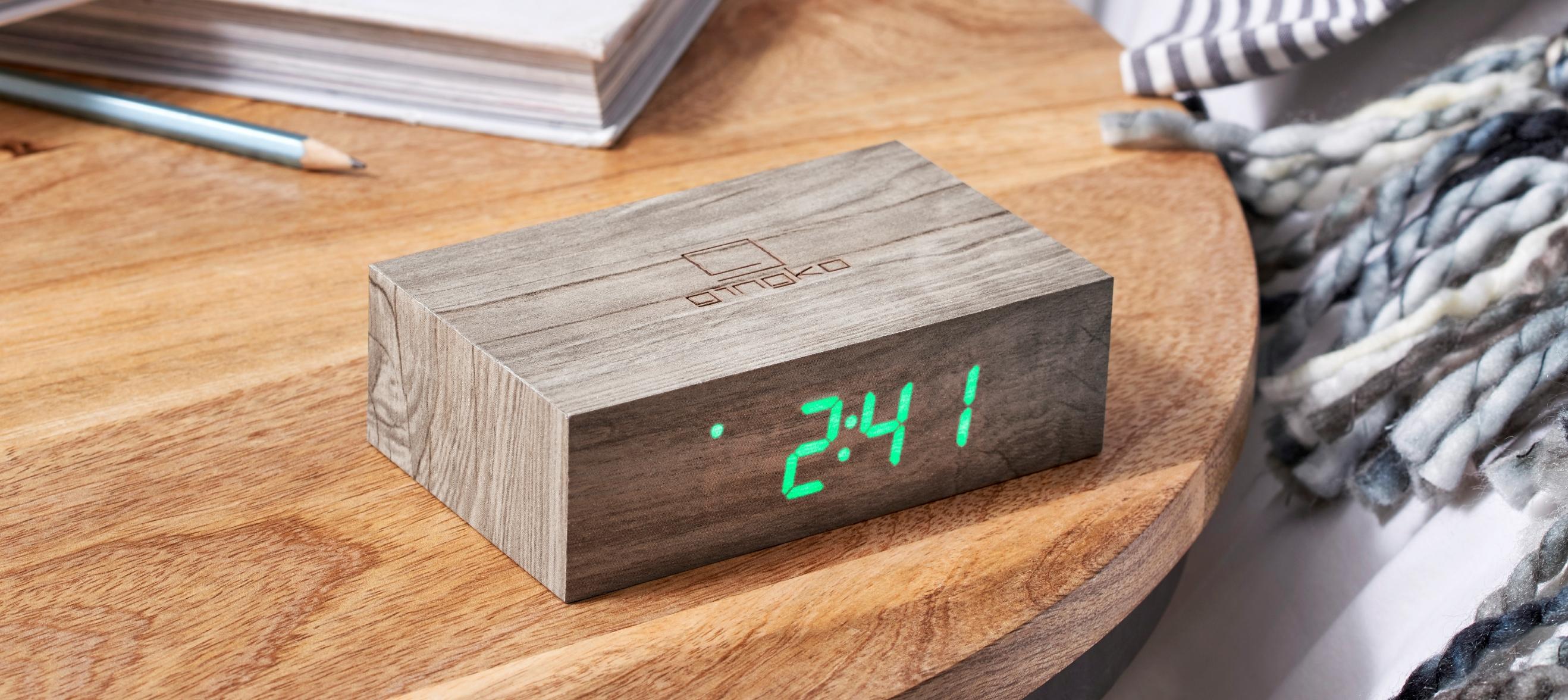 Ceas inteligent cu senzor de alarma Flip Click Clock Ash/Green