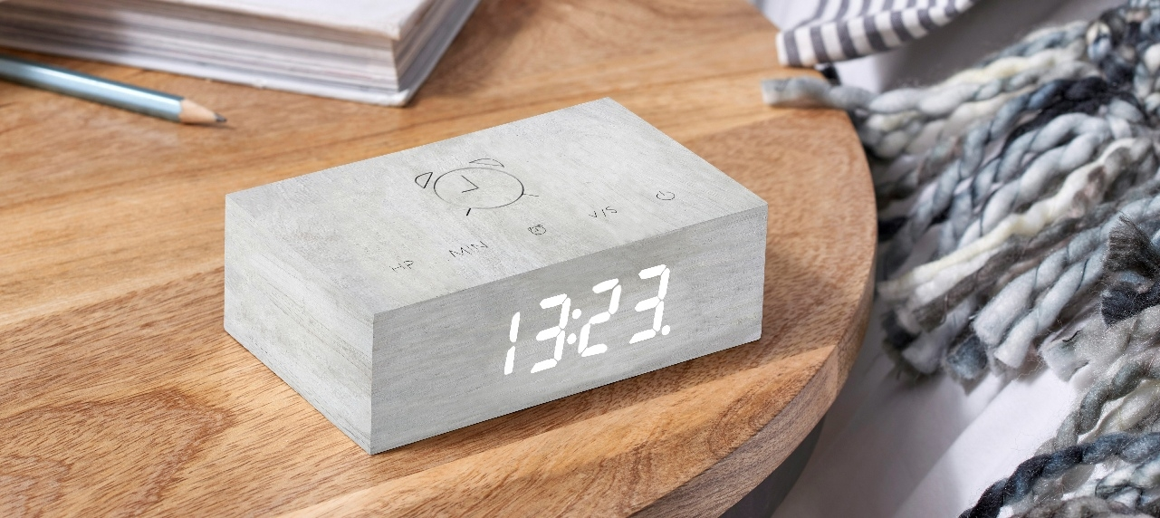 Ceas inteligent cu senzor de alarma Flip Click Clock Birch/White