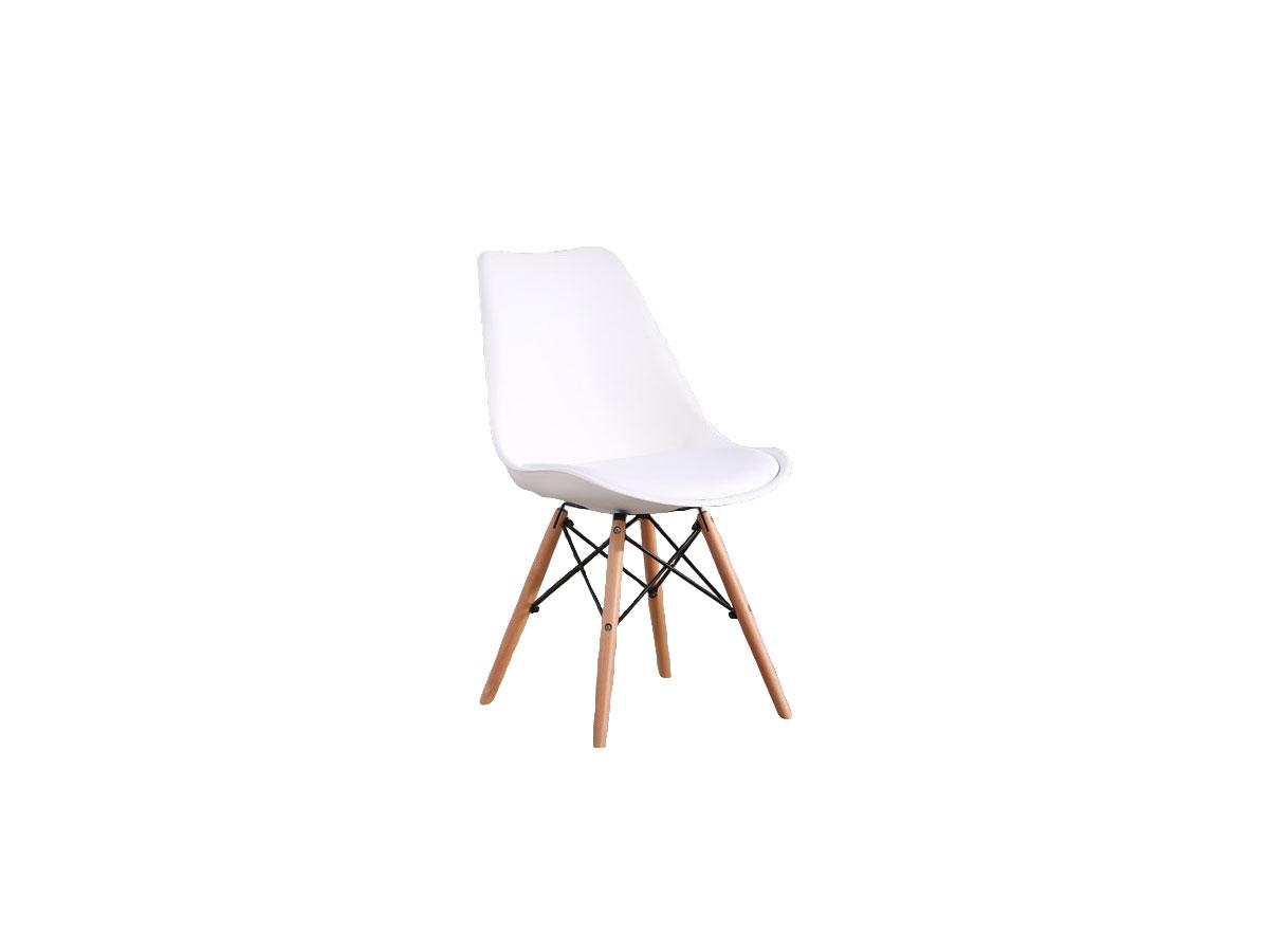 Scaun din plastic cu picioare de lemn si sezut tapitat cu piele ecologica Orlando White l56xA46xH81 cm