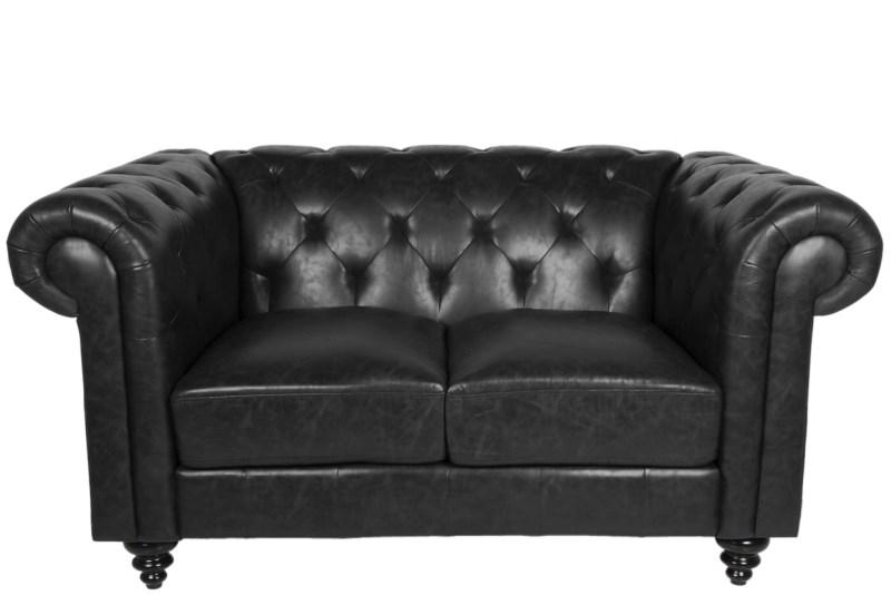 Canapea Fixa 2 locuri din piele ecologica vintage Charlietown Black title=Canapea Fixa 2 locuri din piele ecologica vintage Charlietown Black