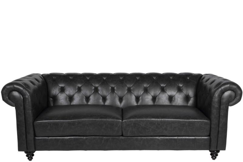 Canapea Fixa 3 locuri din piele ecologica vintage Charlietown Black