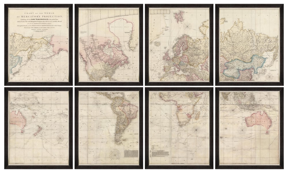 Tablou 8 piese Framed Art Chart Of The World After James Cook