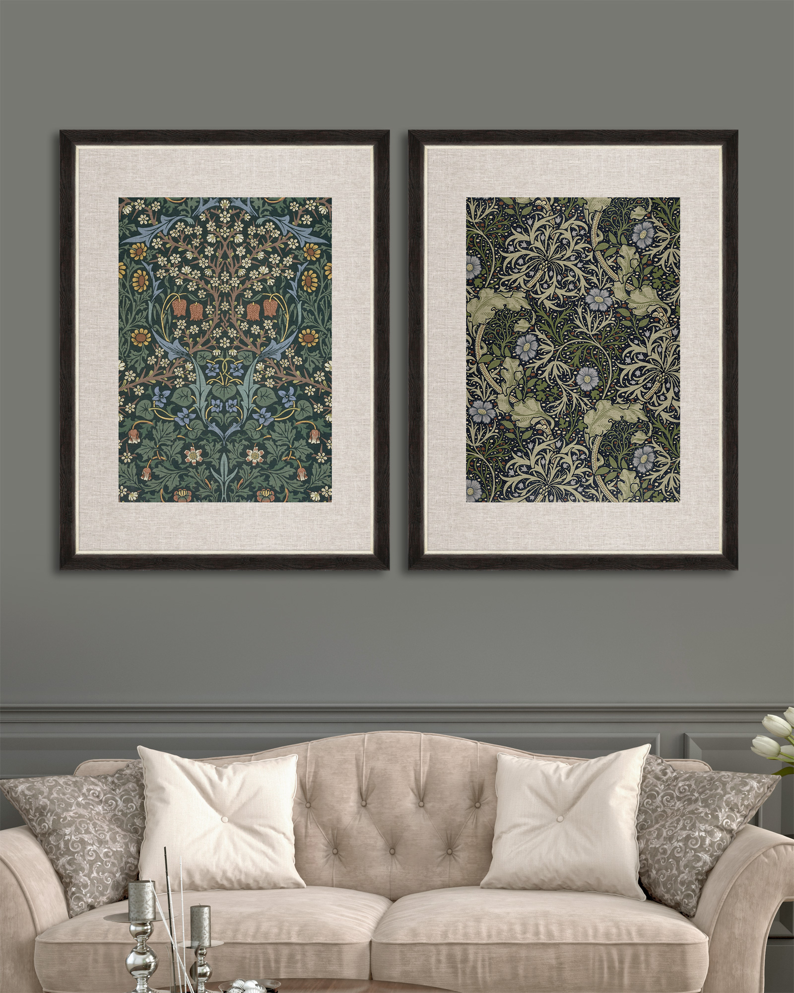 Tablou 2 piese Framed Linen Chinese Floral I & II