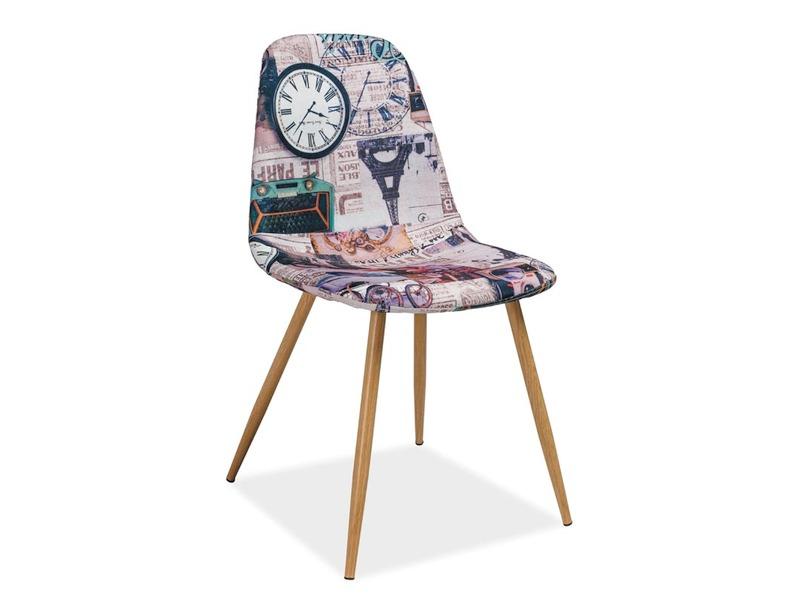 Scaun tapitat cu stofa, cu picioare metalice Citi Paris Multicolour / Oak, l44xA38xH84 cm