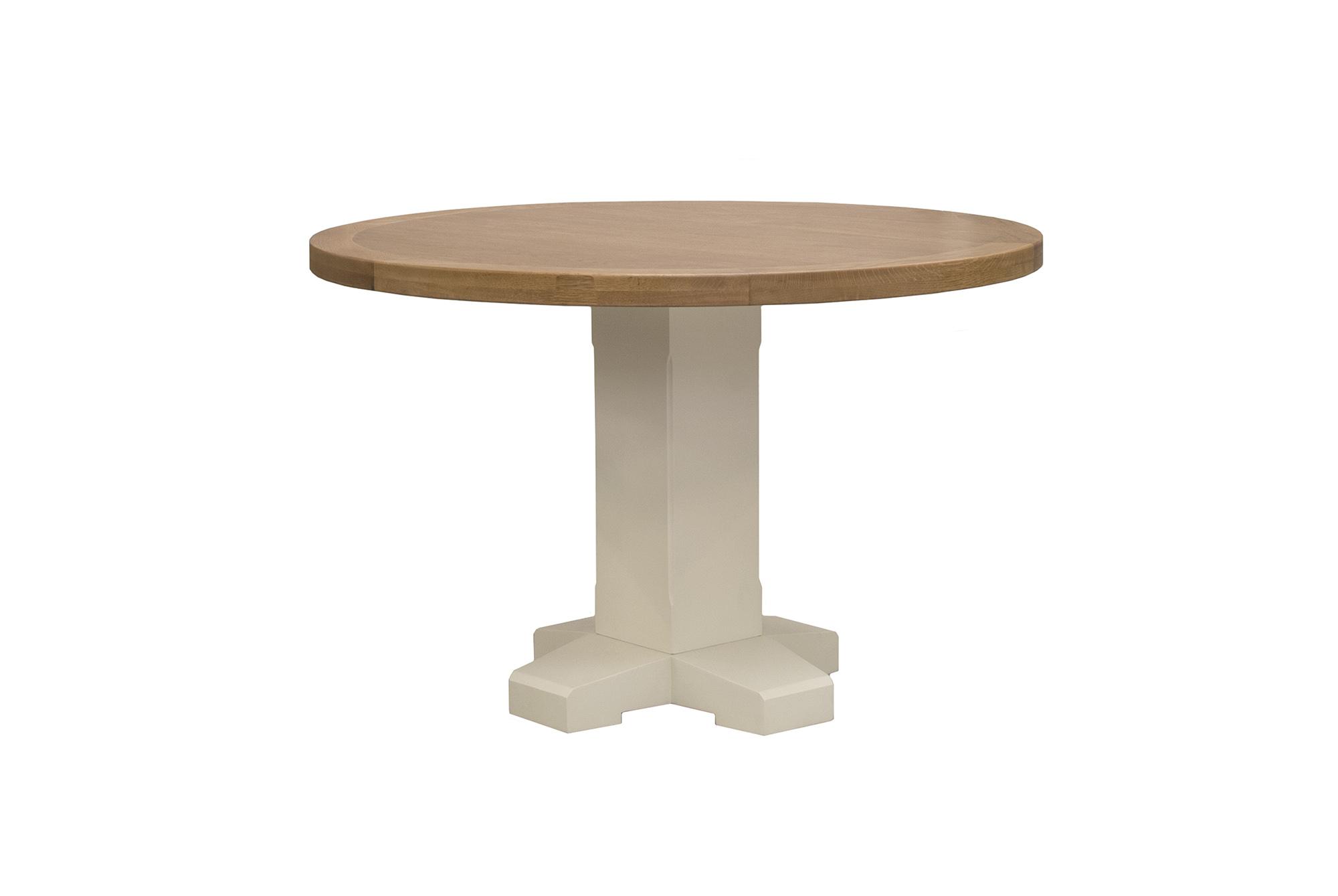 Masa din lemn de stejar Chaumont Ivoir O120xh78 cm