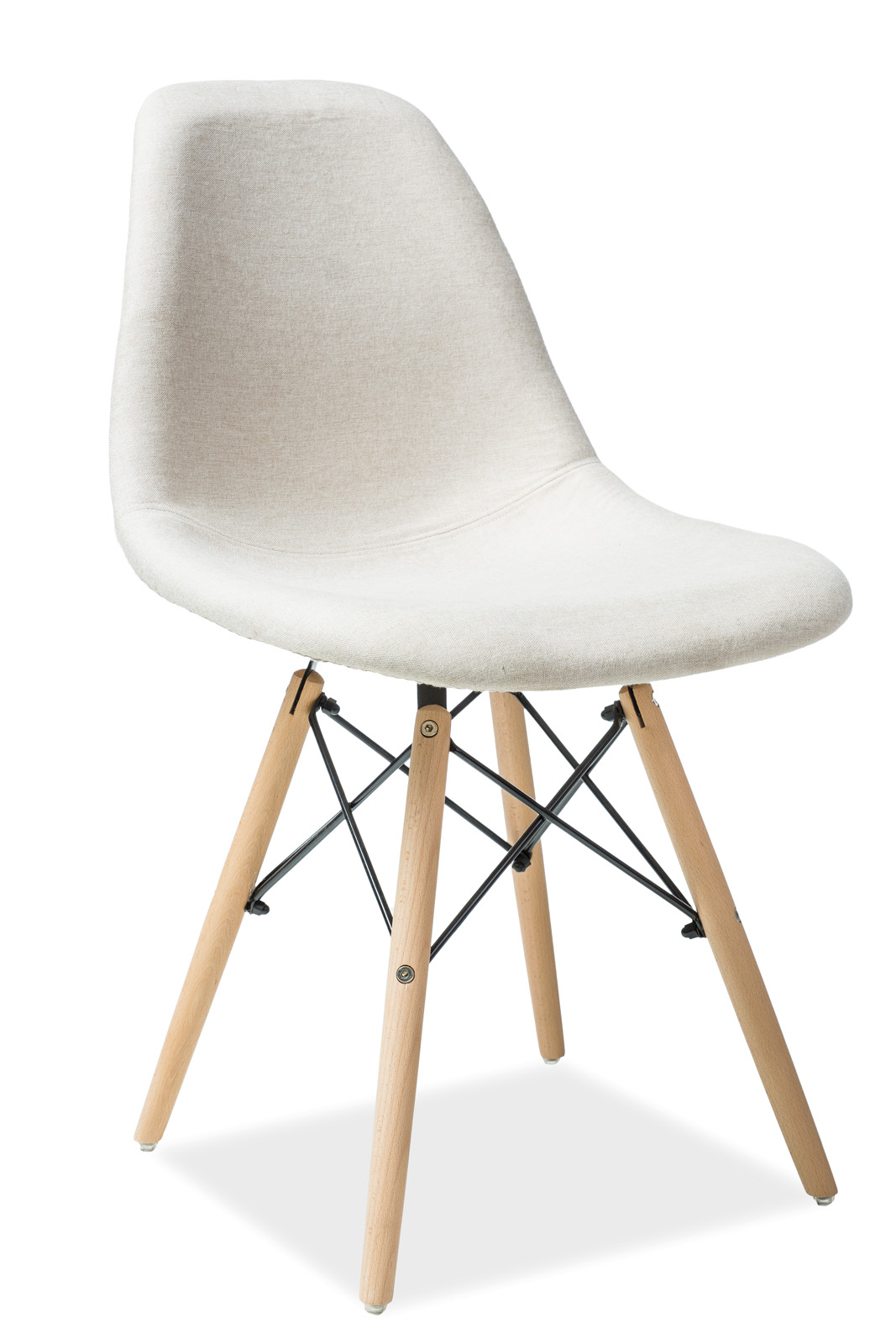 Scaun tapitat cu stofa, cu picioare din lemn Coco Beige, l46xA40xH84 cm somproduct.ro