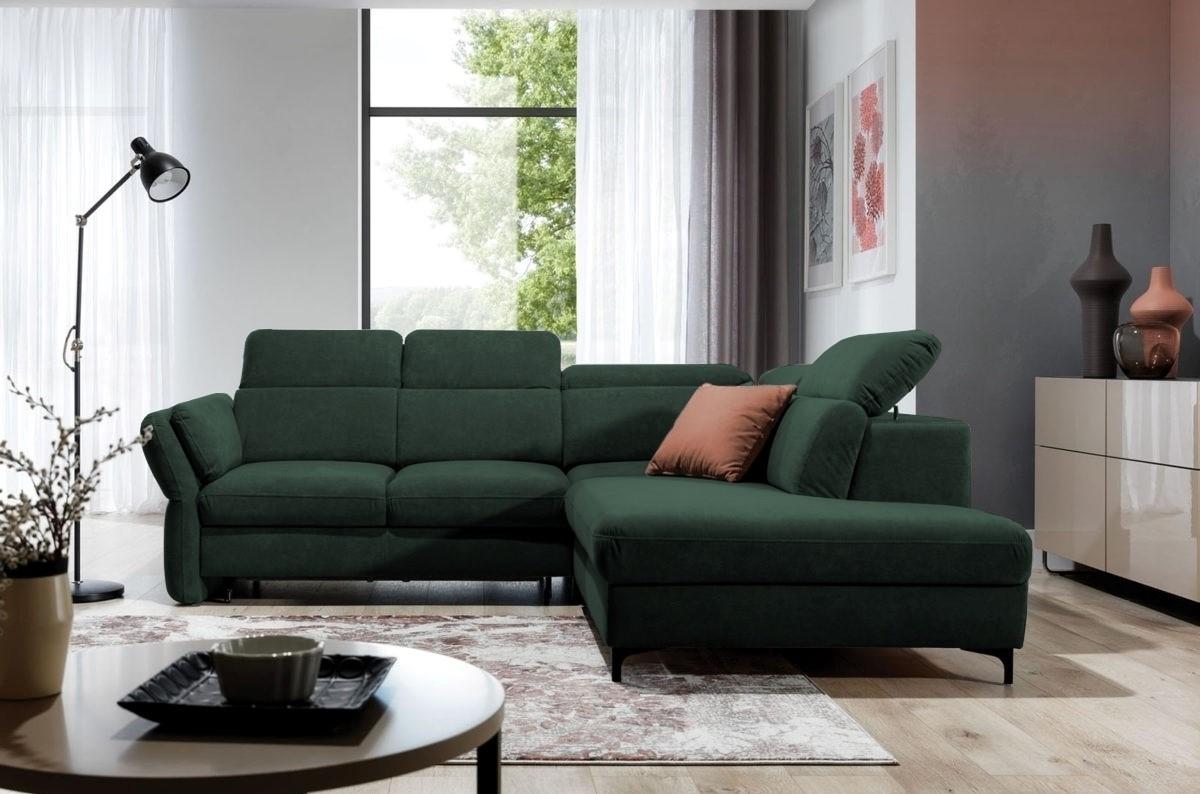 Coltar extensibil cu lada de depozitare, cu sezlong pe dreapta, tapitat cu stofa, Merano Verde, l245xA224xH80 cm