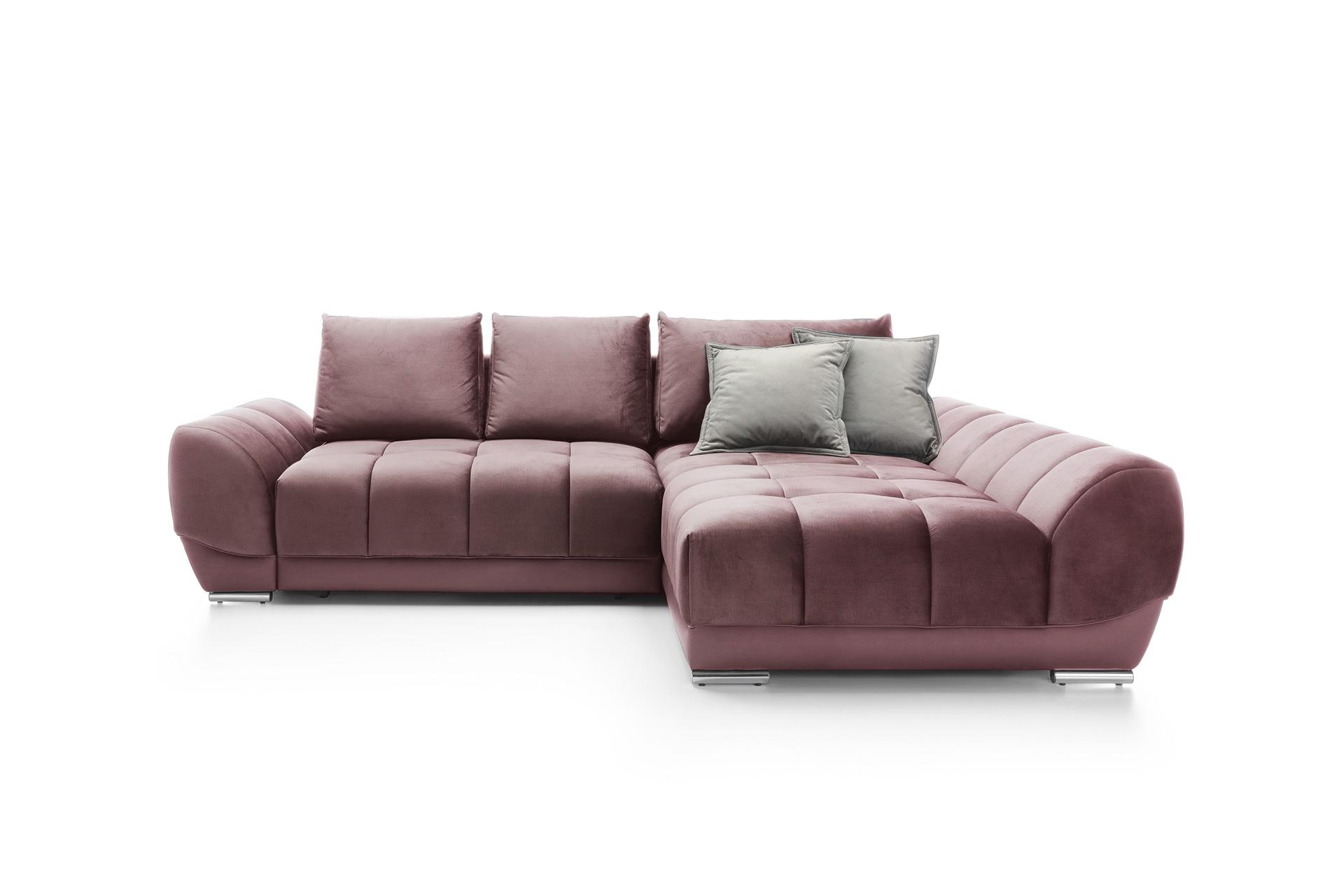Coltar extensibil cu lada de depozitare cu sezlong pe dreapta Violet Dark Pink l290xA192xH76 cm