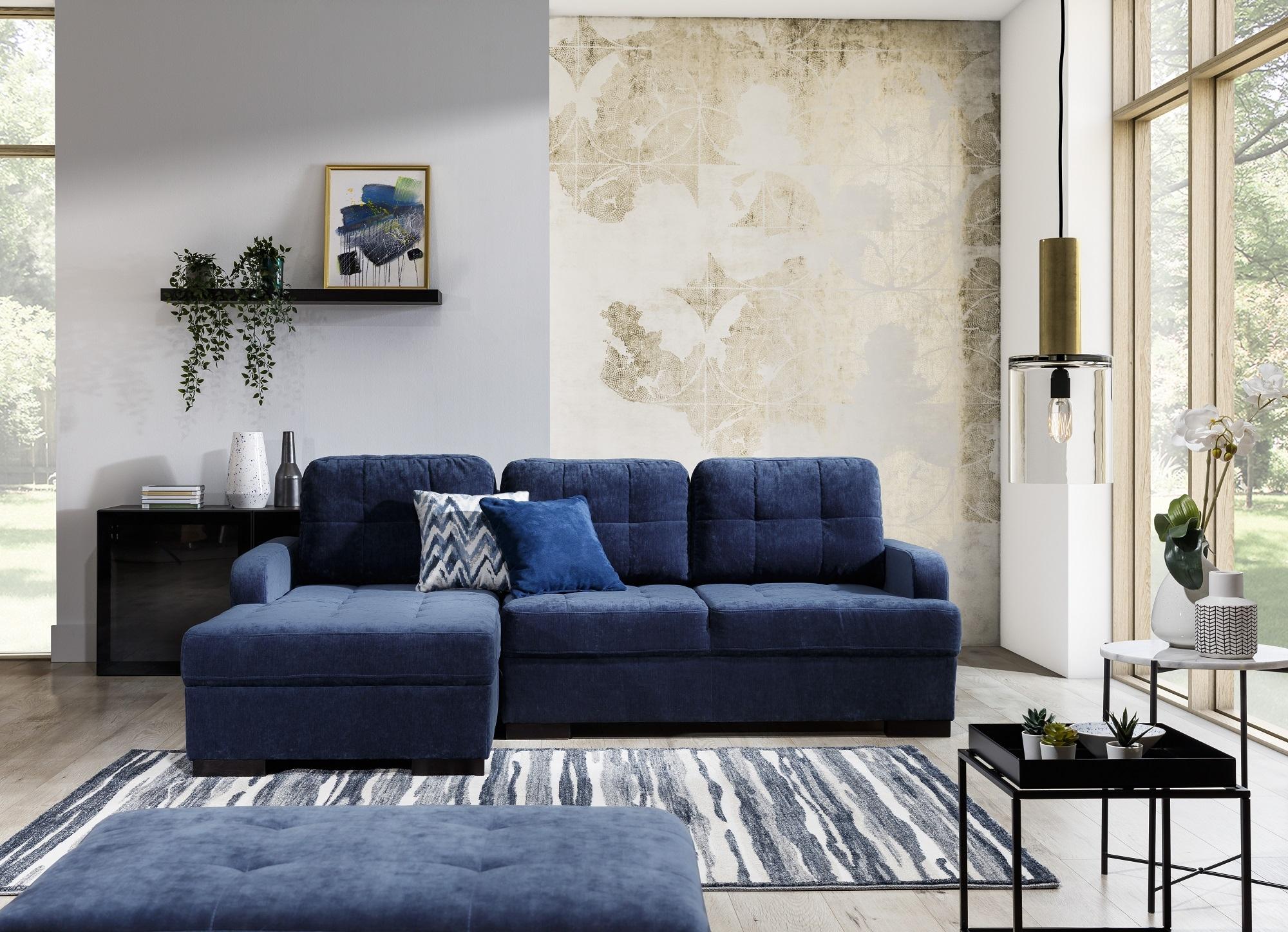 Coltar extensibil cu lada de depozitare, cu sezlong pe stanga, tapitat cu stofa, Catanzaro Bleumarin, l225xA160xH87 cm