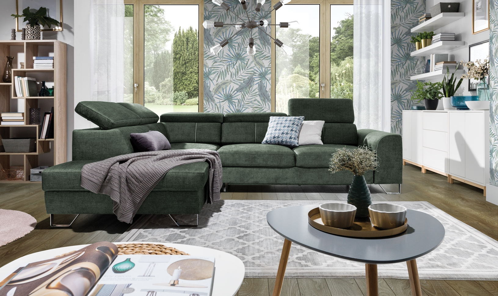 Coltar extensibil cu lada de depozitare, cu sezlong pe stanga, tapitat cu stofa, Asti Verde, l280xA225xH77 cm