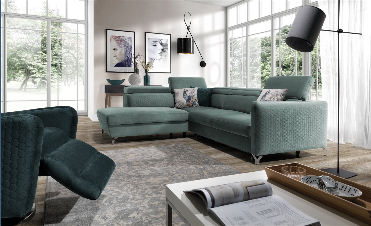 Coltar extensibil cu lada de depozitare, cu sezlong pe stanga, tapitat stofa Marozzo Verde, l265xA220xH95 cm imagine
