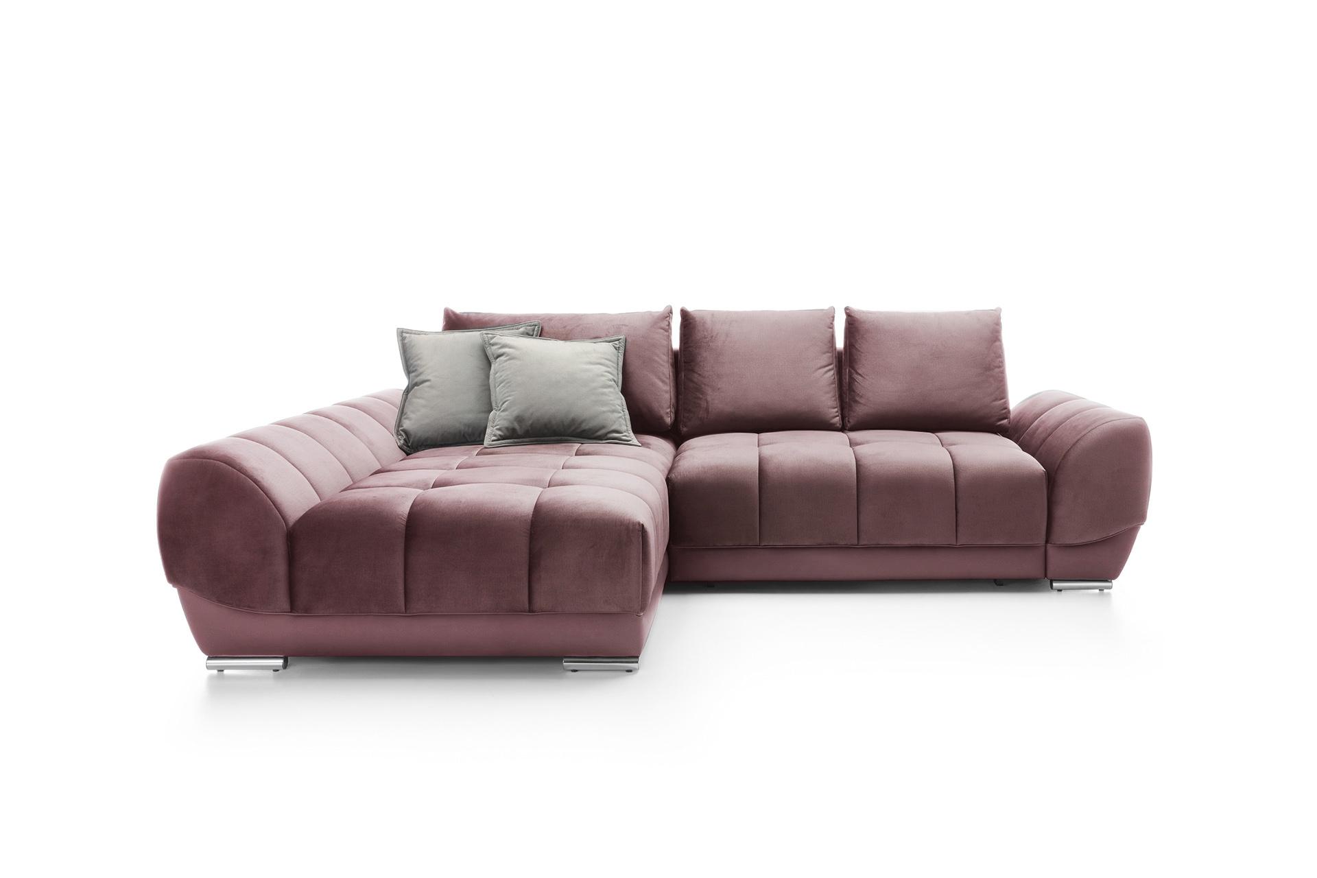 Coltar extensibil cu lada de depozitare, cu sezlong pe stanga Violet Dark Pink, l290xA192xH76 cm imagine