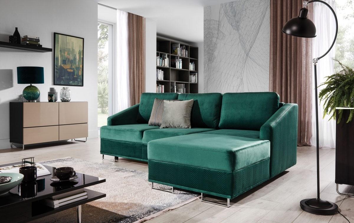 Coltar extensibil cu sezlong pe dreapta, tapitat cu stofa, Bucco Verde, l225xA160xH76 cm imagine