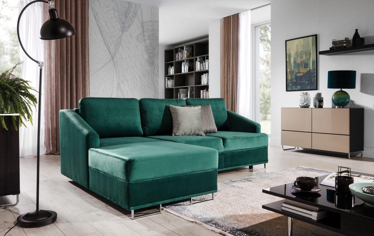 Coltar extensibil cu sezlong pe stanga, tapitat cu stofa, Bucco Verde, l225xA160xH76 cm