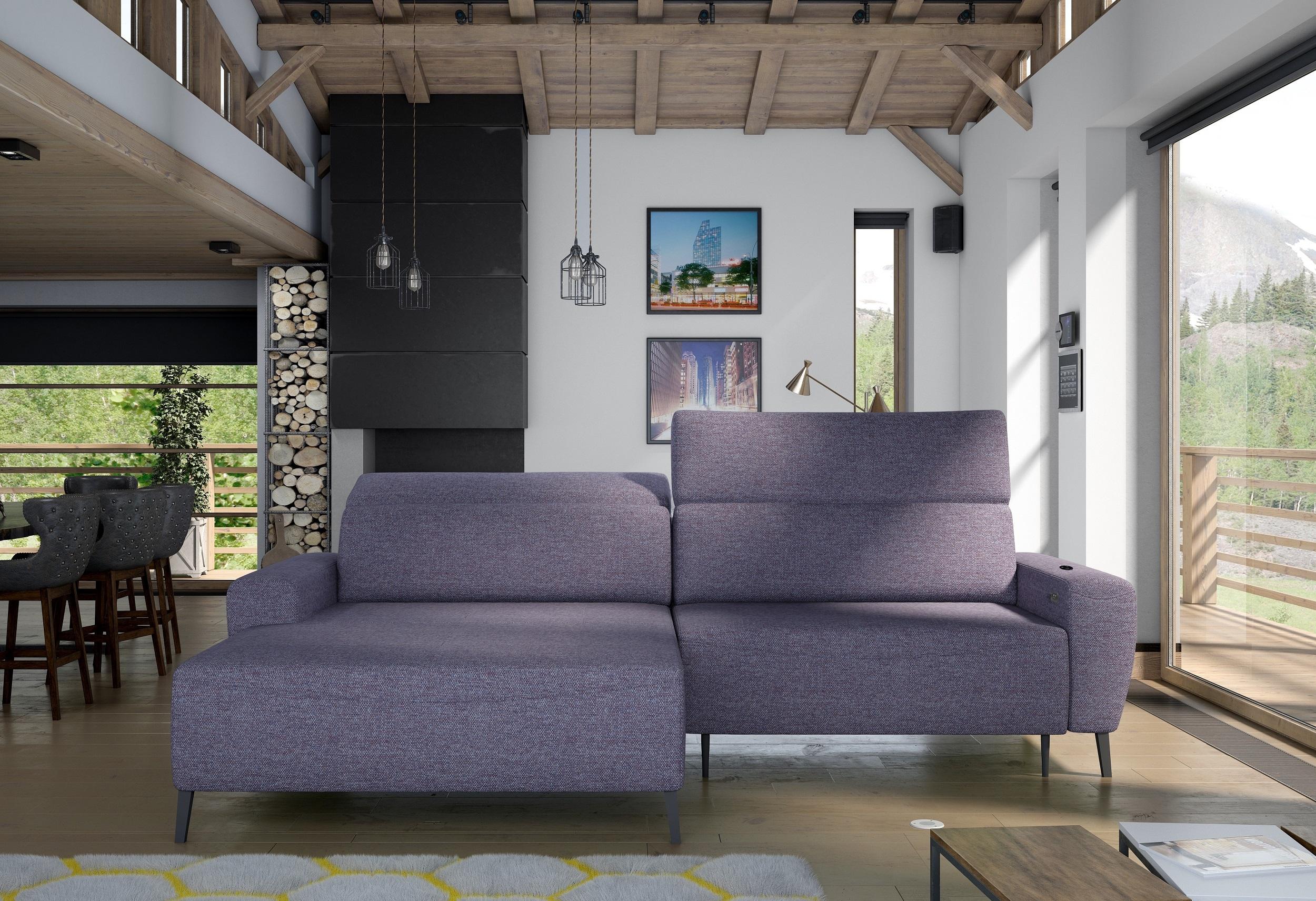 Coltar fix cu mecanism electric Relax, cu sezlong pe stanga, tapitat cu stofa Stream Bleumarin, l285xA178xH78 cm