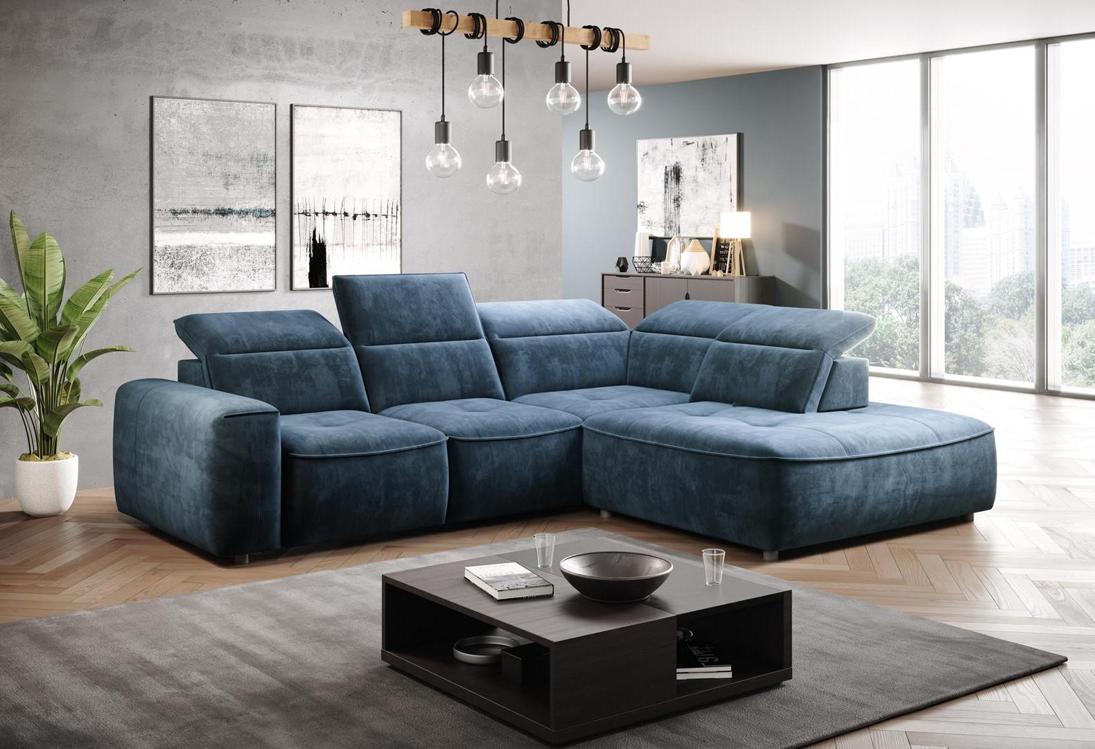 Coltar fix cu mecanism electric Relax si lada de depozitare, cu sezlong pe dreapta, tapitat cu stofa Colombo L Albastru, l296xA227xH81 cm