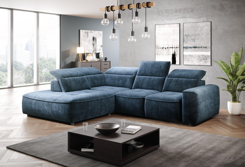 Coltar fix cu mecanism electric Relax si lada de depozitare, cu sezlong pe stanga, tapitat cu stofa Colombo L Albastru, l296xA227xH81 cm