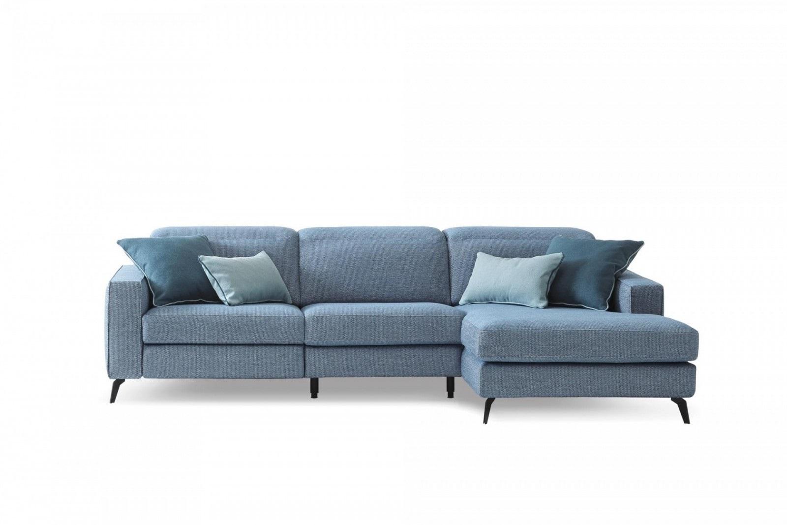 Coltar fix cu mecanism Relax, cu sezlong pe dreapta, tapitat cu stofa, Christopher Albastru, l265xA158xH78 cm somproduct.ro