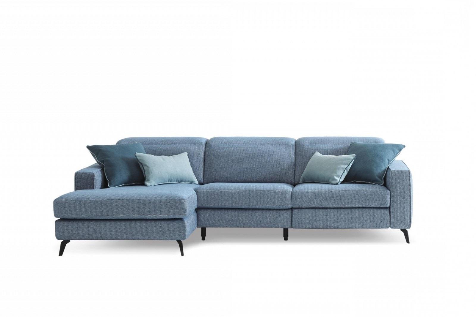 Coltar fix cu mecanism Relax, cu sezlong pe stanga, tapitat cu stofa, Christopher Albastru, l265xA158xH78 cm somproduct.ro
