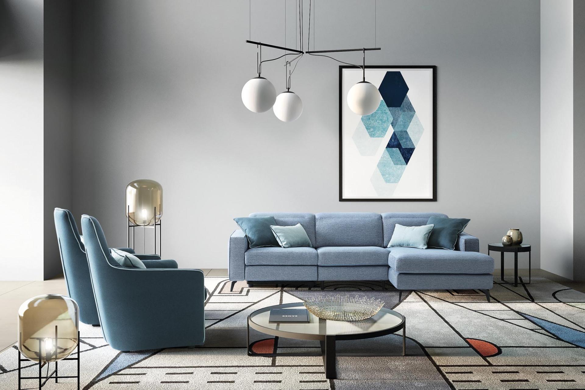 Coltar fix cu mecanism Relax, cu sezlong pe dreapta, tapitat cu stofa, Christopher Albastru, l275xA158xH78 cm