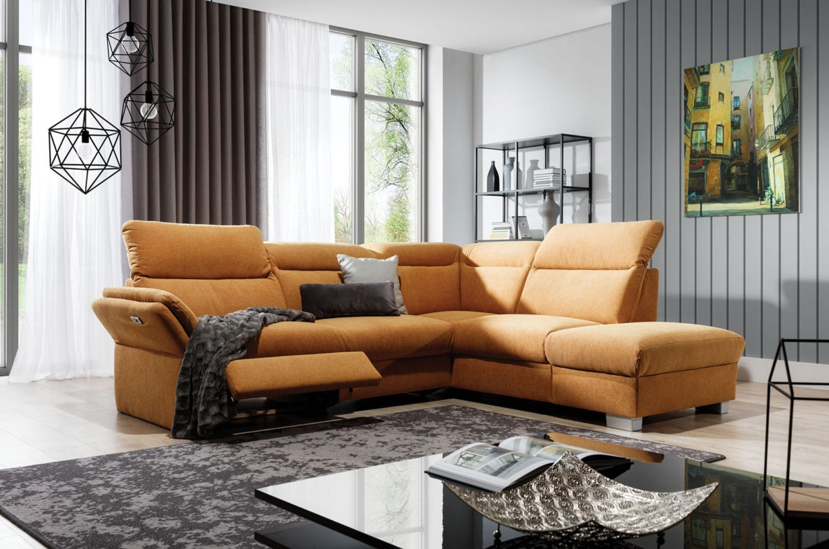 Coltar fix cu mecanism Relax, cu sezlong pe dreapta, tapitat cu Icon 45, Reno Mustariu, l270xA230xH90 cm