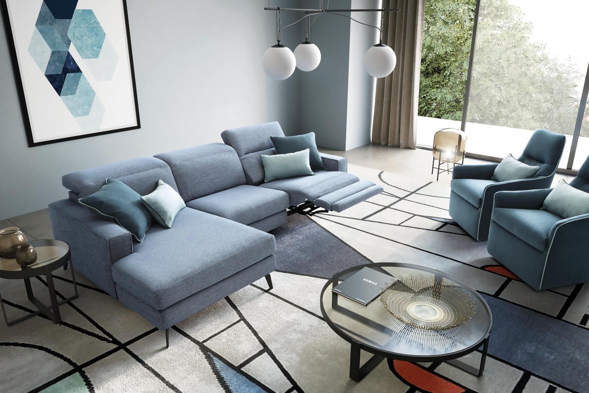 Coltar fix cu mecanism Relax, cu sezlong pe stanga, tapitat cu stofa, Christopher Albastru, l275xA158xH78 cm