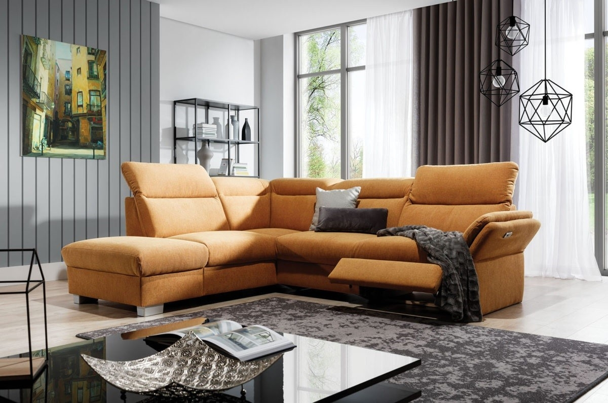 Coltar fix cu mecanism Relax, cu sezlong pe stanga, tapitat cu Icon 45, Reno Mustariu, l270xA230xH90 cm