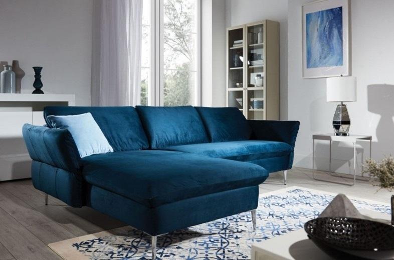 Coltar fix cu sezlong pe stanga, tapitat cu stofa, Vino Bleumarin, l235xA165xH78 cm imagine