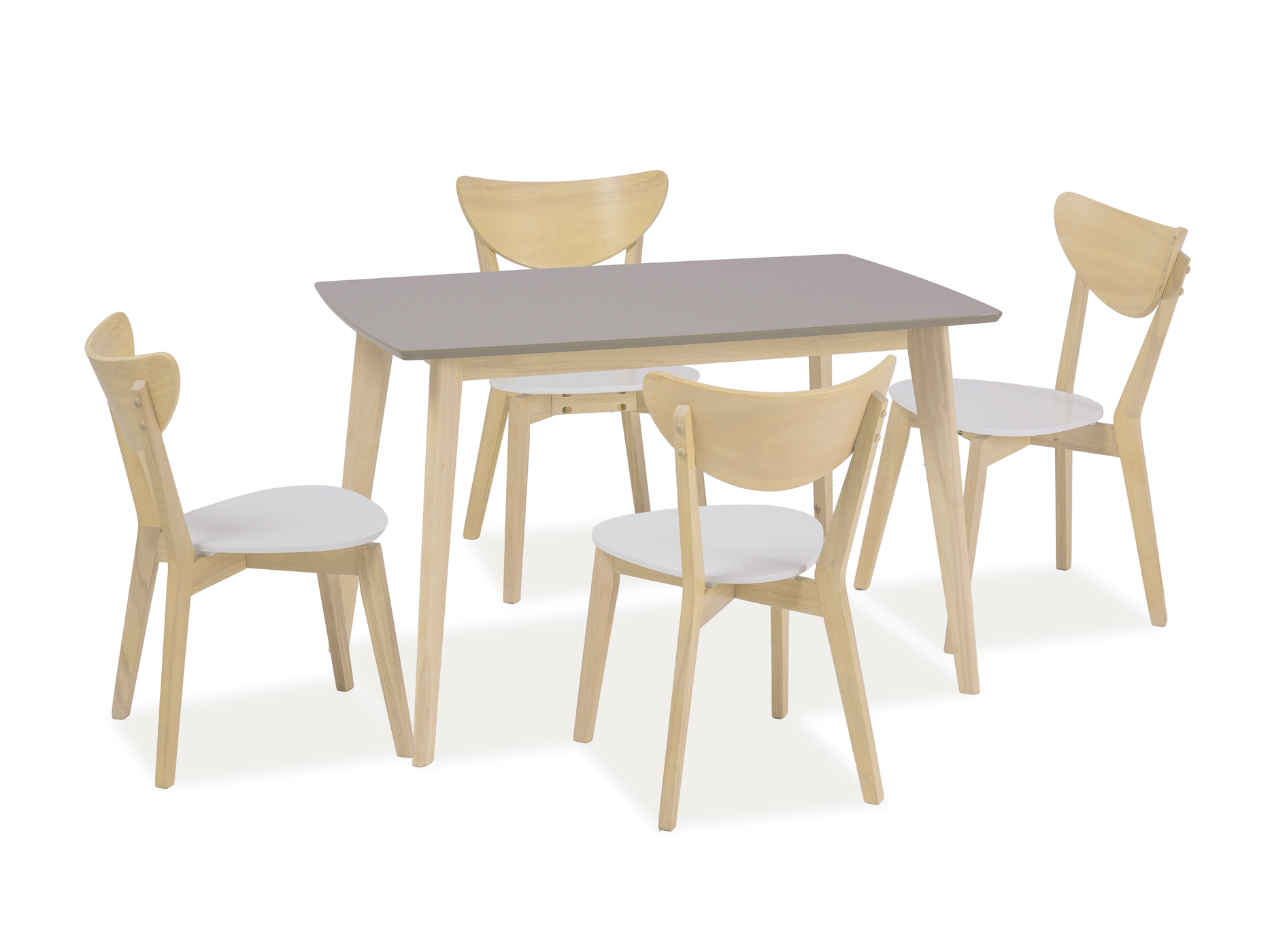 Set masa din MDF si lemn Combo Grej + 4 scaune CD-19 White / Oak, L120xl75xH75 cm imagine