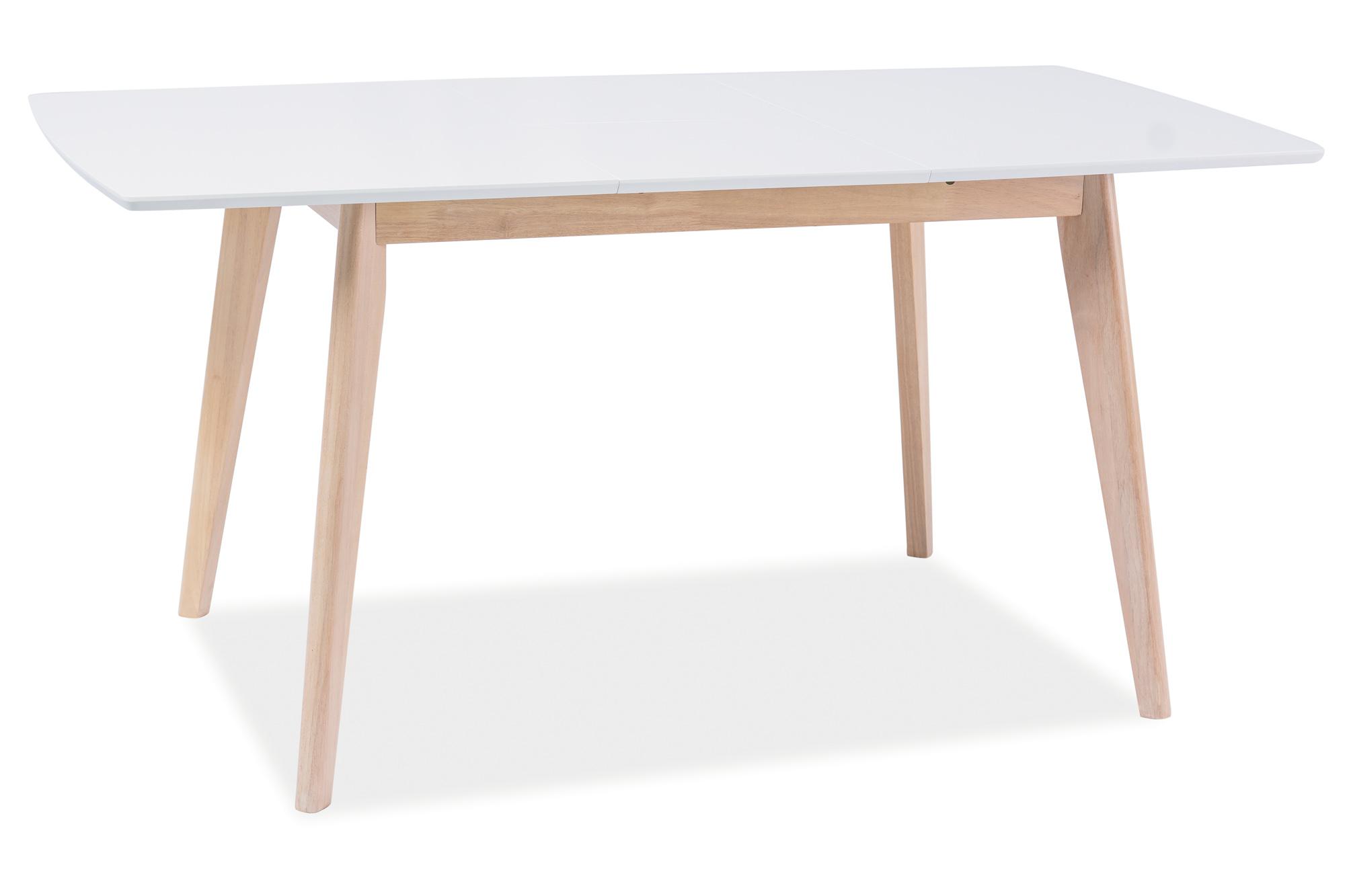 Masa extensibila din MDF si lemn Combo II White/Oak, L120-160xl75xh75 cm