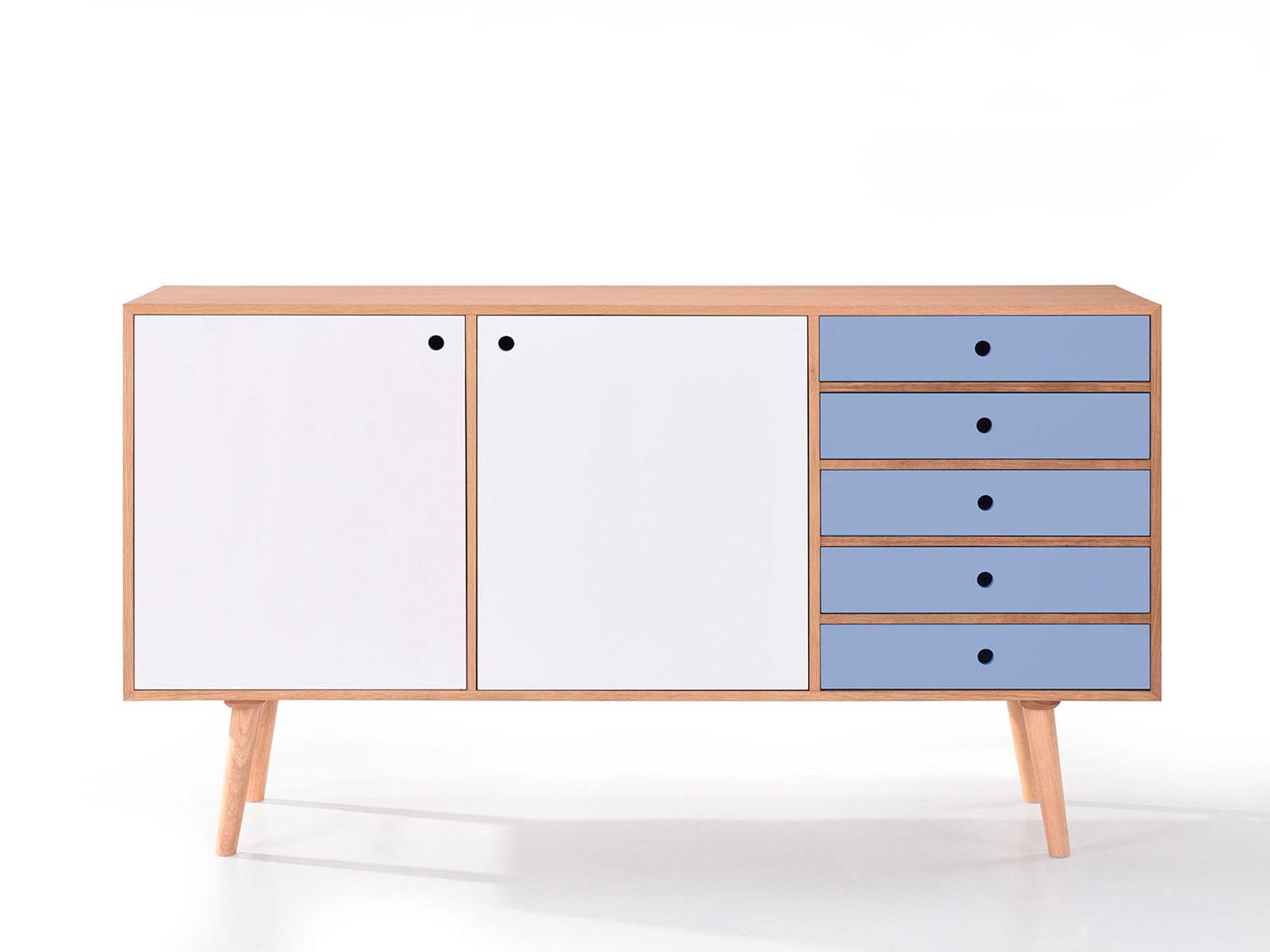 Comoda cu 5 sertare din lemn masiv si MDF Fenna l180xA44xH100 cm