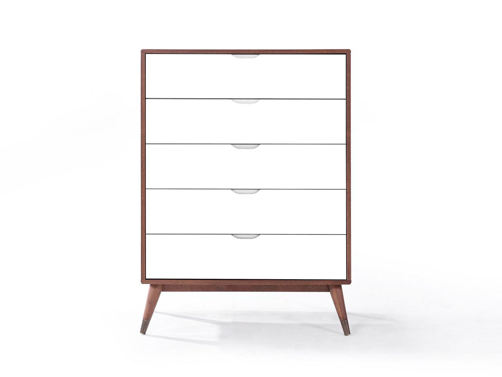 Comoda cu 5 sertare din lemn masiv si MDF Gisela Walnut/White l90xA45xH124 cm