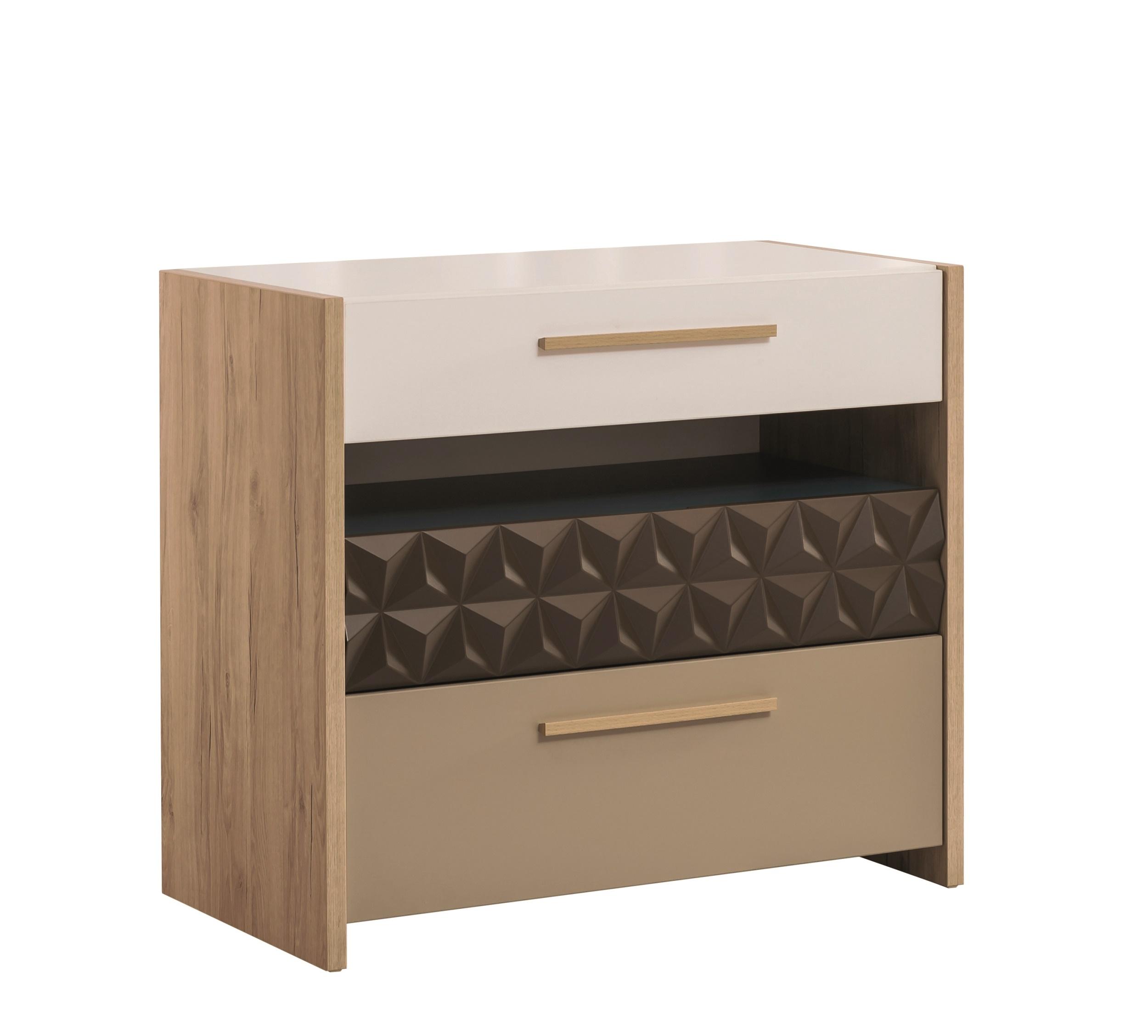 Comoda din pal cu 3 sertare pentru tineret Lofter Cream / Brown l86xA45xH75 cm