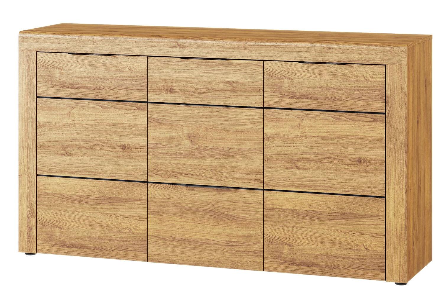 Comoda din pal cu 3 sertare si 2 usi Kama 45 Stejar / Negru, l151xA40xH86 cm