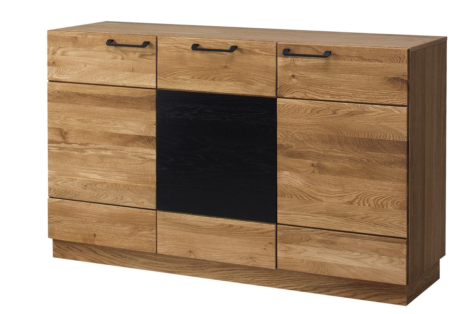 Comoda din lemn si furnir, cu 3 usi Mosaic 45 Stejar / Negru, l150xA42xH90 cm