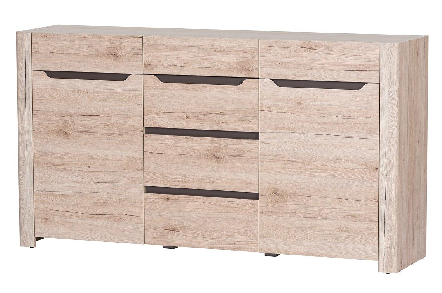 Comoda din pal, cu 4 sertare si 2 usi Desjo 10 Stejar San Remo, l170xA42xH93 cm