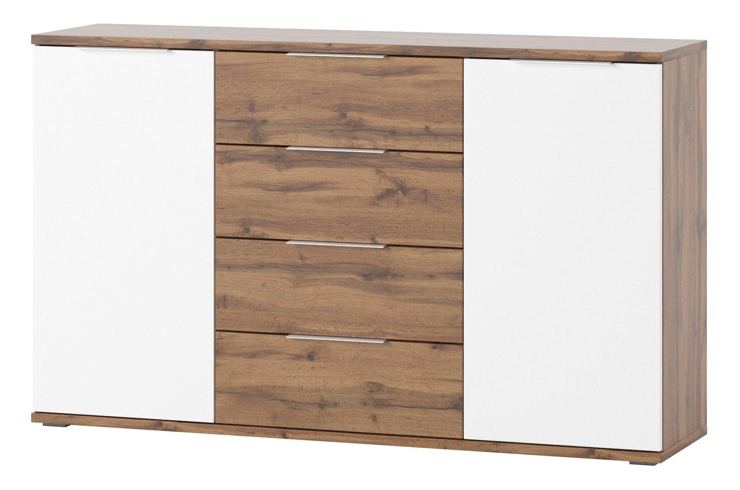 Comoda cu 4 sertare si 2 usi Livorno 45 Oak / White, l150xA38xH90 cm imagine
