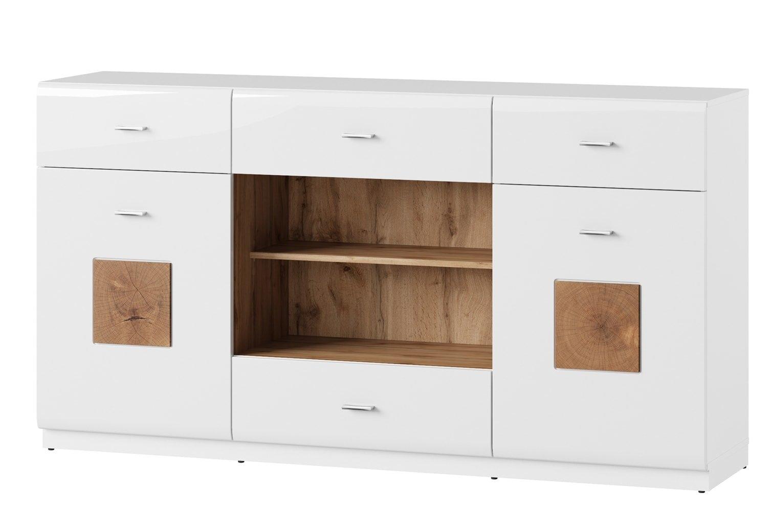 Comoda din pal, cu 4 sertare si 2 usi Wood 46 Alb / Stejar Wotan, l168xA40xH90 cm