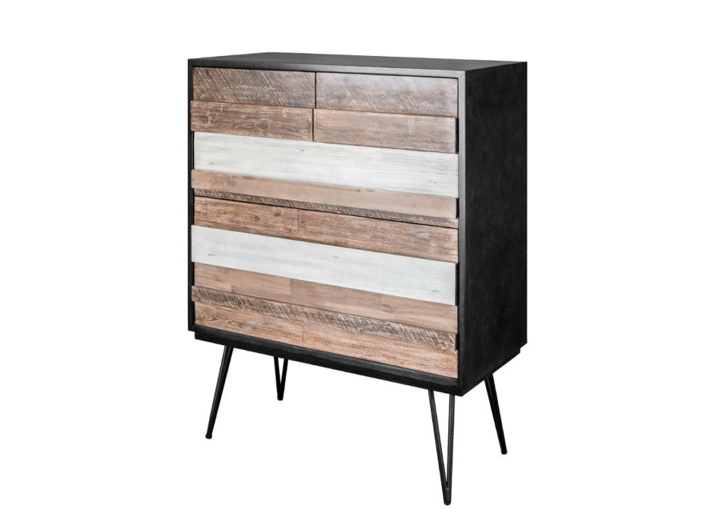 Comoda cu 5 sertare din lemn de salcam si MDF, Adesso B03, l100xA45xH125 cm poza