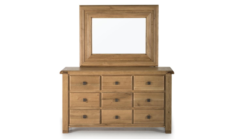 Comoda cu oglinda din lemn de stejar cu 9 sertare York Oak l150xA45xH825 cm