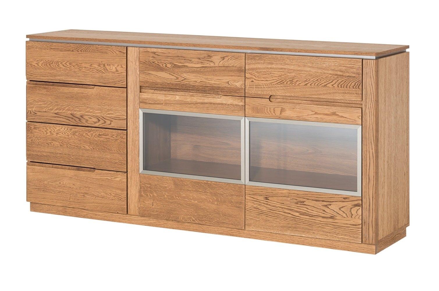 Comoda cu vitrina din lemn si furnir, 4 sertare si 2 usi Montenegro 47 Stejar Rustic, l180xA42xH87 cm poza