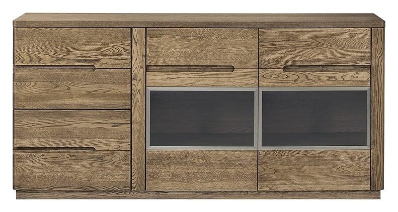 Comoda cu vitrina din lemn si furnir cu 4 sertare si 2 usi Negro 47 Oak l180xA42xH87 cm