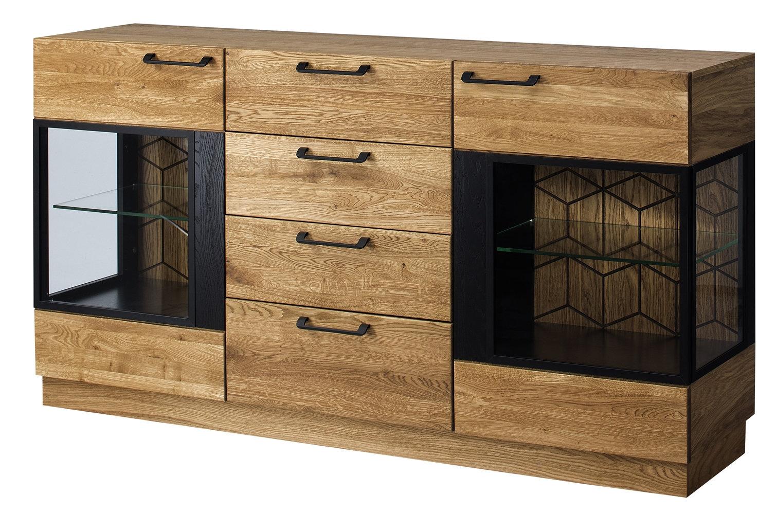 Comoda cu vitrina din lemn si furnir, 4 sertare si 2 usi Mosaic 47 Stejar / Negru, l170xA42xH90 cm poza