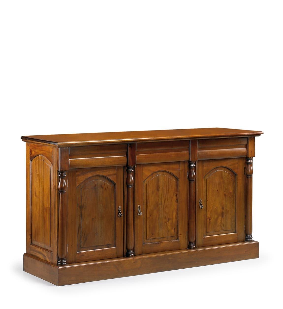 Comoda din lemn cu 3 sertare si 3 usi, Vintage Nuc, l170xA50xH95 cm somproduct.ro